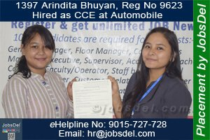 Arindita Hired as Telecaller (CCE) at Automobile